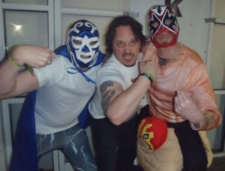 Your author with Luchadors